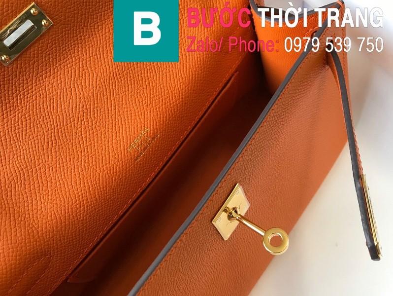 Túi xách Hermes Kelly Pochette siêu cấp da epsom màu cam size 22cm