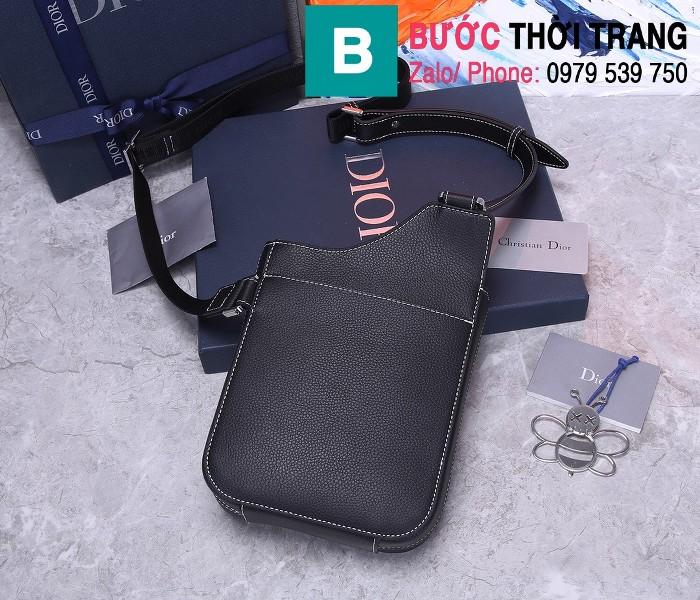 Túi đeo chéo Dior Oblique Bag siêu cấp da bò màu đen size 16cm