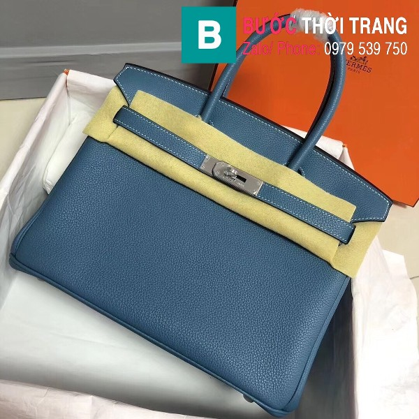 Túi xách Hermes Birkin siêu cấp da Togo màu xanh biển size 30cm