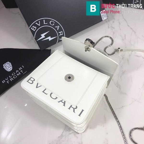 Túi xách Bvlgari serventi forever siêu cấp da bê màu trắng size 18 cm