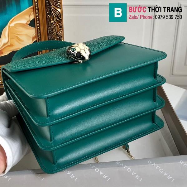 Túi xách Bvlgari serventi forever siêu cấp da cá đuối màu xanh size 18 cm