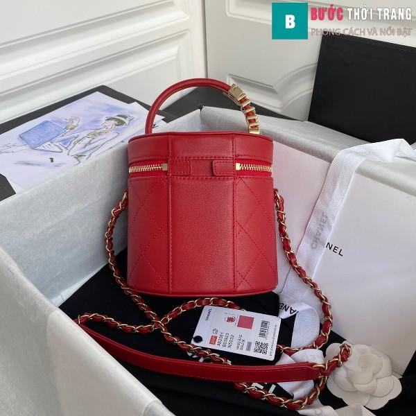 Túi xách Chanel Vanity case lambskin bag blach siêu cấp màu đỏ size 20 cm - AS2061