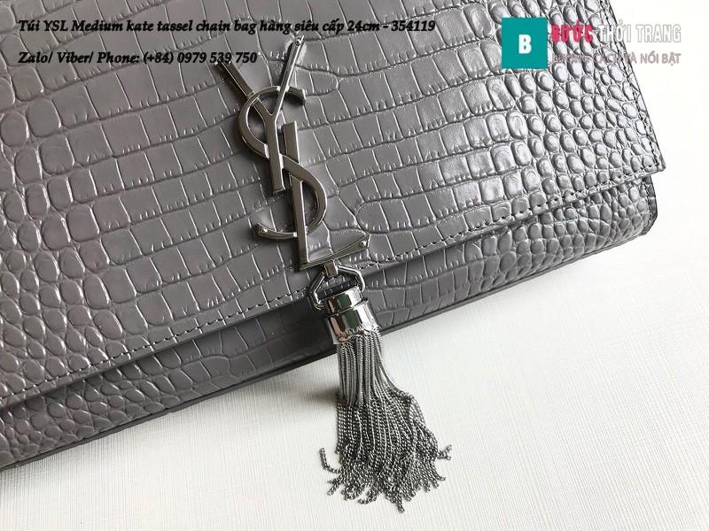 Túi YSL Medium kate tassel chain màu ghi tag bạc dập vân cá sấu 24cm - 354119