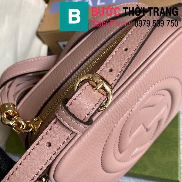 Túi xách Gucci Soho Small Leather Disco bag siêu cấp da bê màu hồng size 22cm - 308364