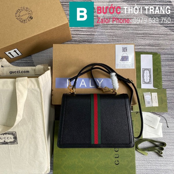 Túi xách Gucci Ophidia small top handle bag siêu cấp da bê màu đen size 25cm - 651055