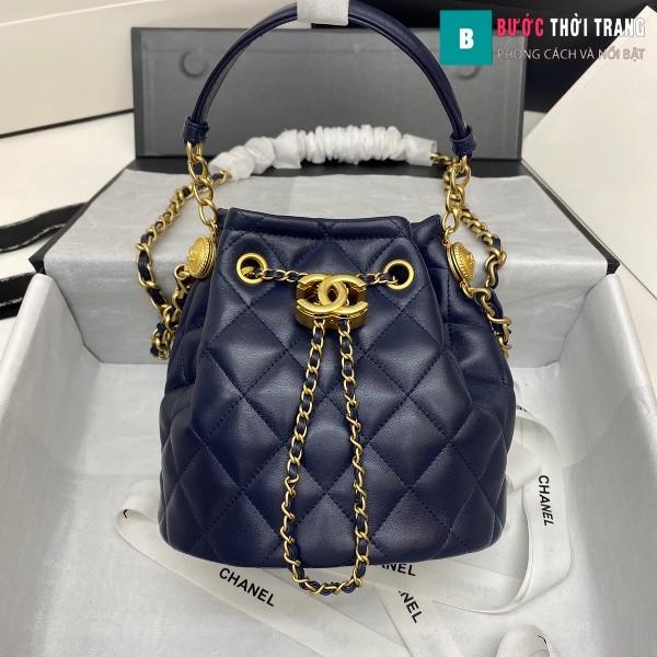 Túi xách Chanel Drawstring Bag siêu cấp màu xanh tím than size 20 cm da cừu