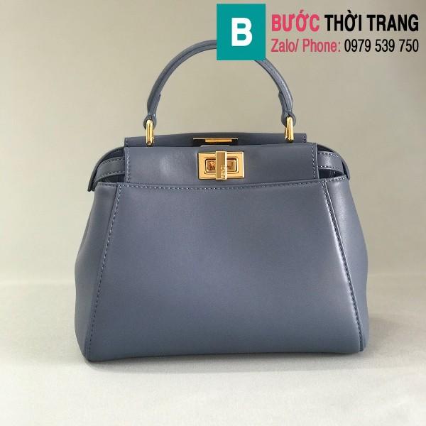 Túi xách Fendi Peekaboo iconic mini siêu cấp da nappa màu xanh size 23cm