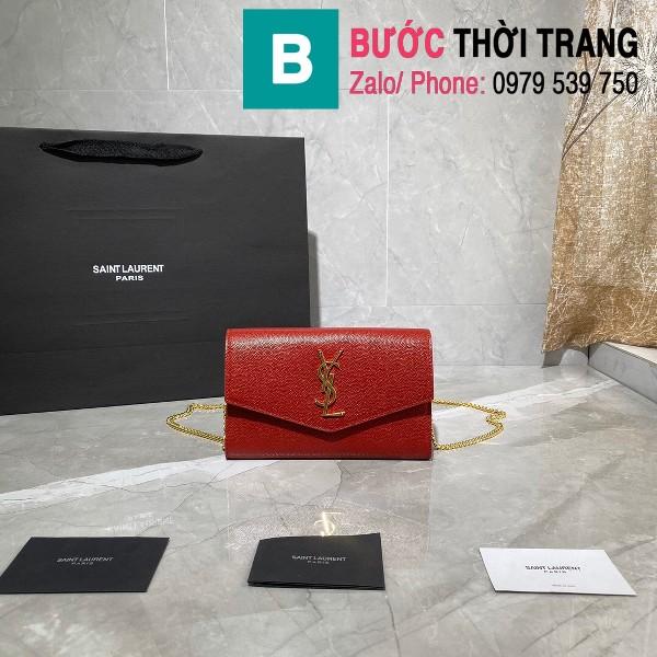 Túi ví tay cầm dây đeo YSL Saint Laurent siêu cấp da bê màu đỏ size 19cm - 607788