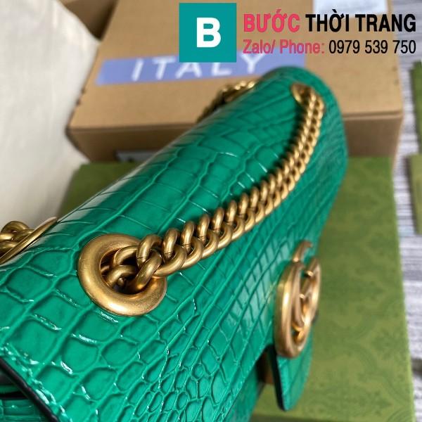 Túi xách Gucci Marmont siêu cấp da bò dập vân cá sấu màu xanh size 26cm - 443497