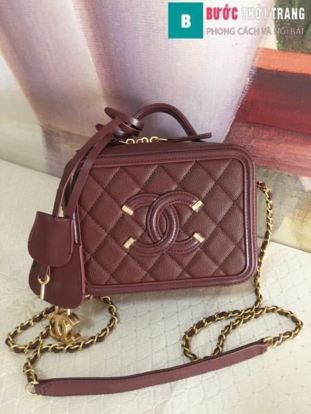 Túi xách Chanel Vanity case bag siêu cấp màu đỏ thẫm  size 17 cm - 93314