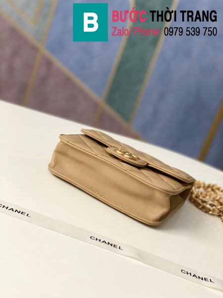 Túi xách tay Chanel mẫu mới siêu cấp da bê màu nâu size 18 cm - AS8817