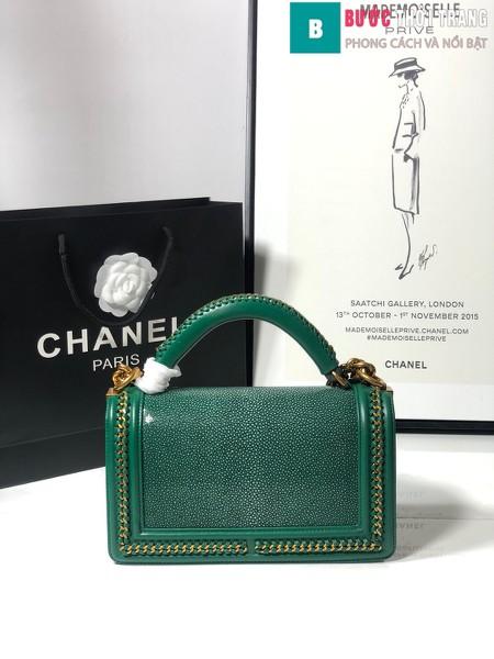 Túi xách Chanel boy siêu cấp da cá đuối màu xanh 2 size 25 cm - A67086
