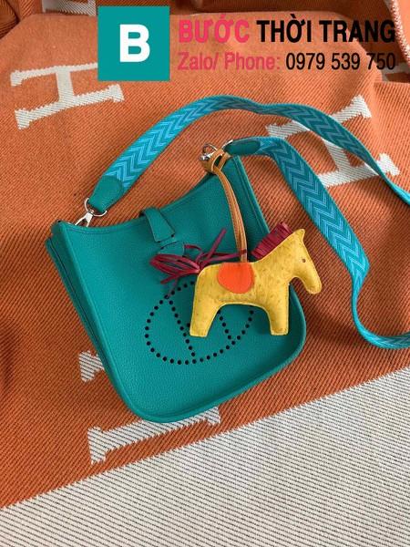 Túi xách Hermes Evelyne mini bag siêu cấp da togo màu blue-green size 17cm