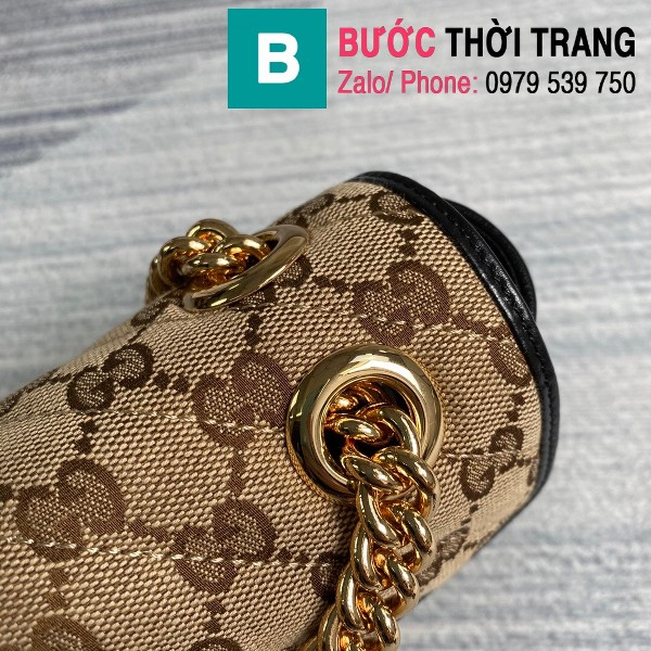 Túi xách Gucci Marmont matelasé mini bag siêu cấp viền đen size 22cm - 446744