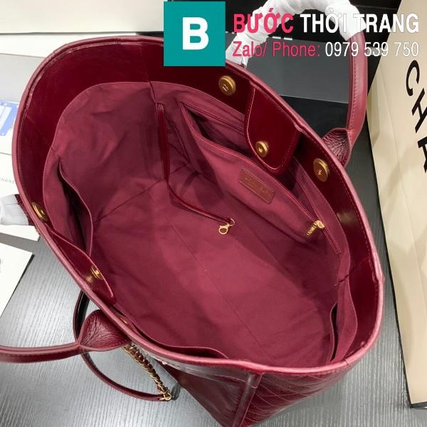 Túi xách Chanel Large tote siêu cấp da bê màu xanh đỏ đô size 40cm - 66914