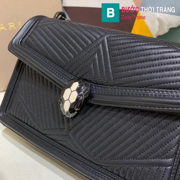 Túi xách Bvlgari Seventi Diamond Blast siêu cấp da bê màu đen size 24 cm