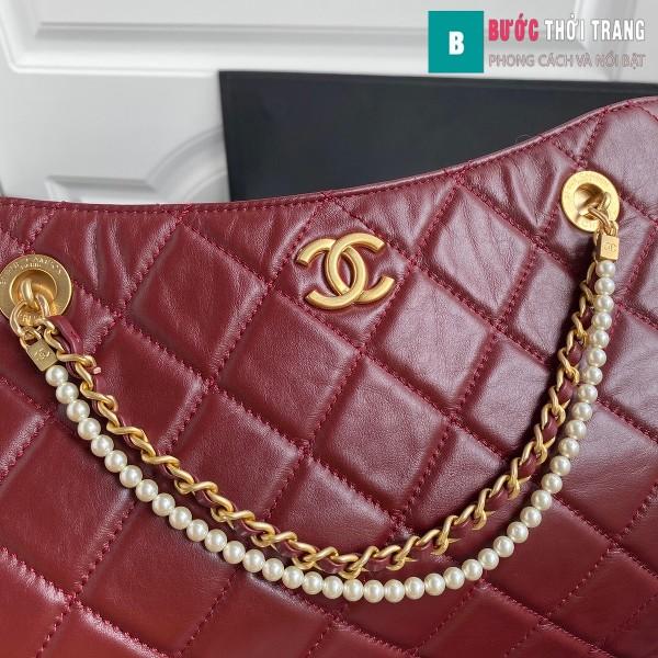 Túi xách Chanel Shopping Bag siêu cấp màu đỏ đậm size 34 cm - AS2213