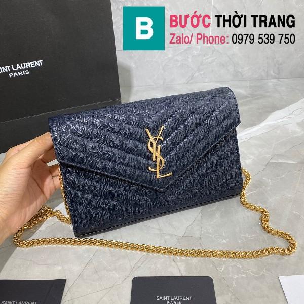 Túi xách YSL Saint laurent Monogram chanin bag siêu cấp da hạt màu xanh tím than size 22.5cm - 377828