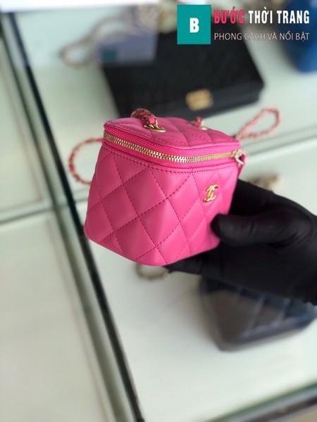 Túi xách Chanel Small vanity bag wich strap siêu cấp màu hồng size 11 cm - AP1147y
