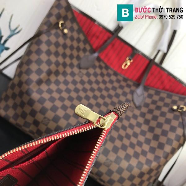 Túi xách Louis Vuitton Neverfull GM siêu cấp màu nâu kẻ cá rô size 40 cm - M40990
