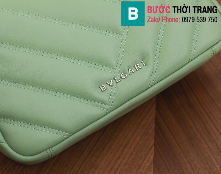 Túi xách Bvlgari Serventi Cabochon siêu cấp da bê màu xanh  size 22.5cm