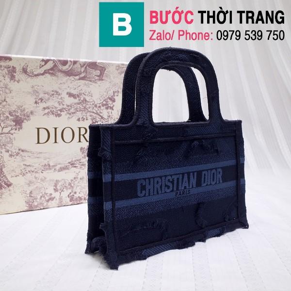 Túi xách Dior Book Tote mini siêu cấp chất liệu vải casvan màu 4 size 23cm
