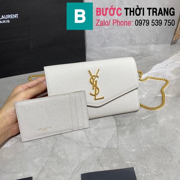 Túi ví tay cầm dây đeo YSL Saint Laurent siêu cấp da bê màu trắng size 19cm - 607788