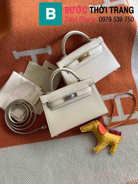 Túi xách Hermes Kelly mini siêu cấp da epsom màu trắng size 19.5cm