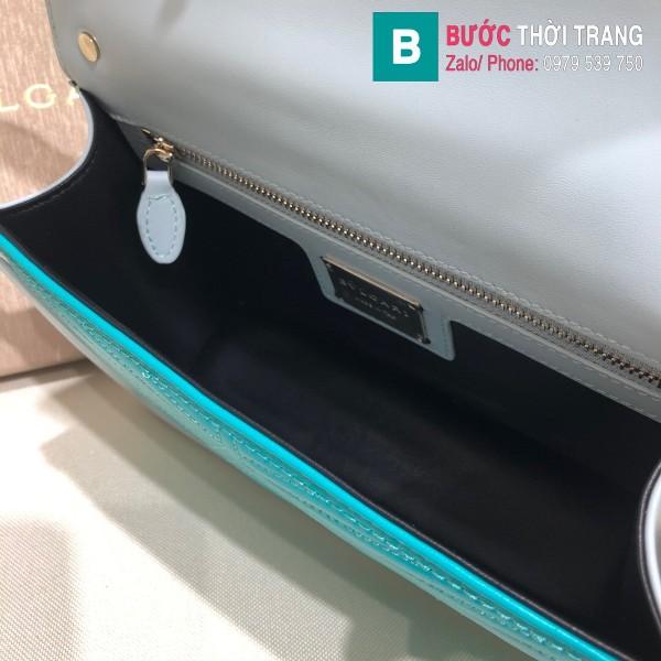 Túi xách Bvlgari Seventi Diamond Blast siêu cấp da bê màu xanh size 24 cm - B286628