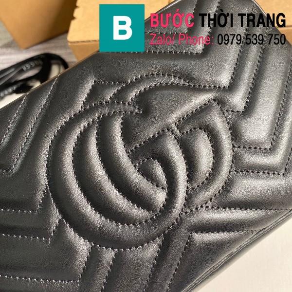 Túi xách Gucci Marmont small matelassé shoulder bag siêu cấp màu đen size 24cm - 447632