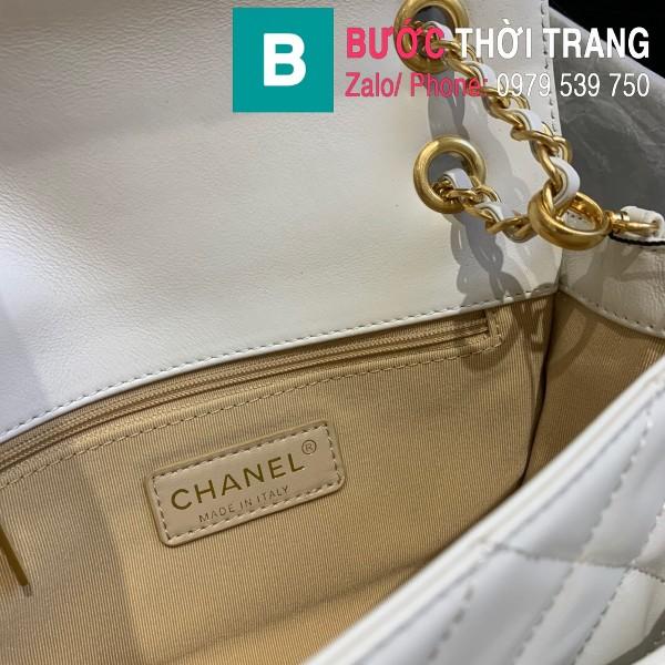 Túi xách Chanel Logo Small Flap Bag siêu cấp da bê màu trắng size 21cm - AS1490