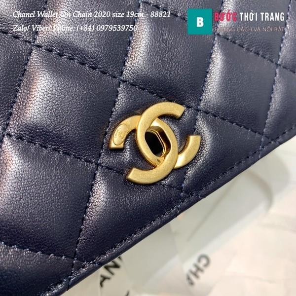 Túi Xách Chanel Classic Wallet On Chain siêu cấp 2020 size 19cm màu xanh - A88821