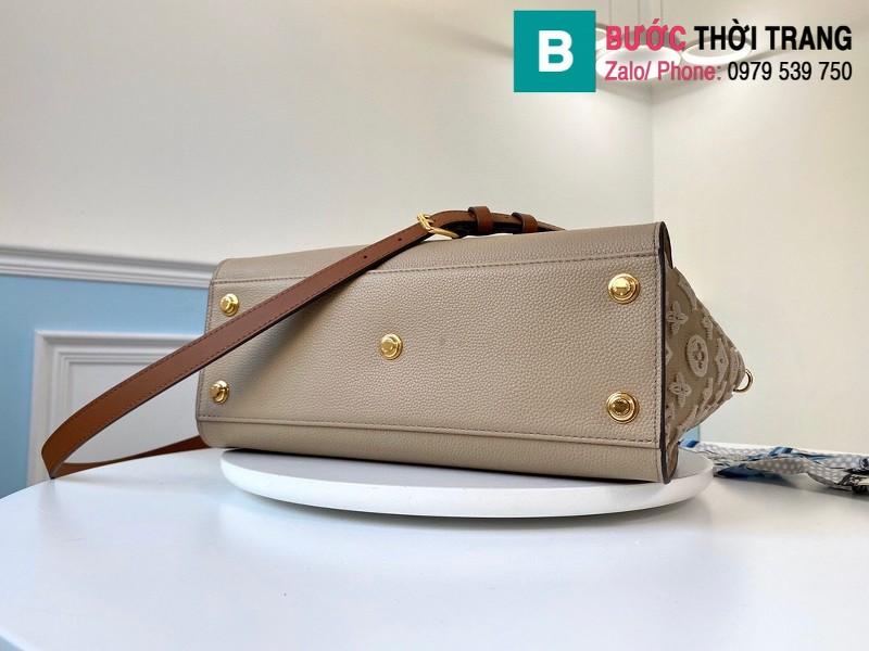 Túi xách Louis Vuitton On My Side siêu cấp da bê màu galet size 30.5 cm - M53825