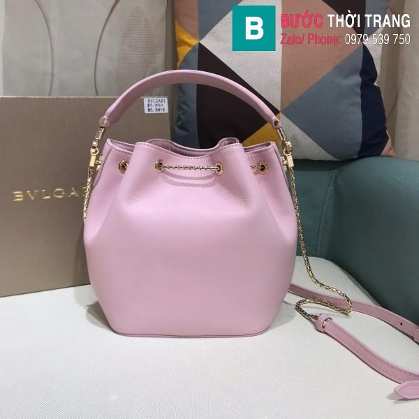 Túi Bvlgari Serventi Forever Bucket bag siêu cấp da bê màu hồng size 16cm - B287641
