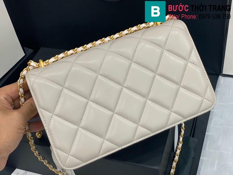 Túi xách Chanel Lambskin Classic Flap Bag siêu cấp da cừu màu trắng ngà size 23cm - AS9916