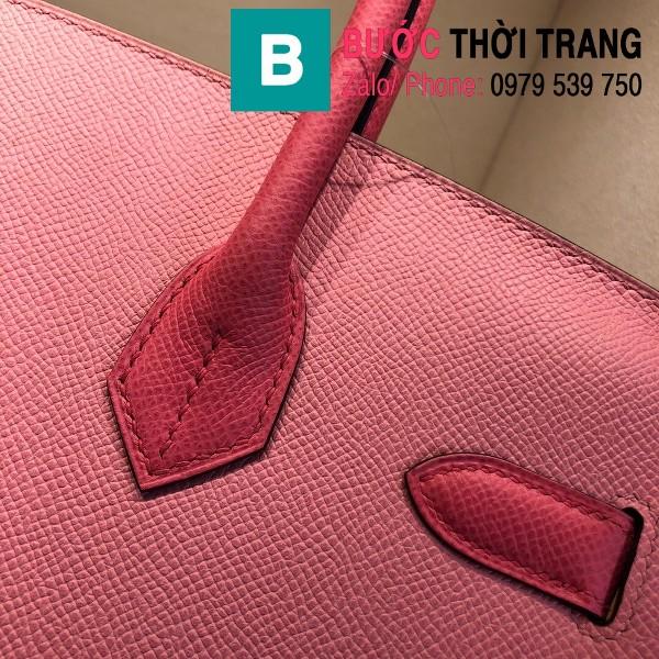 Túi xách Hermes Birkin siêu cấp da epsom màu xanh hồng size 30cm