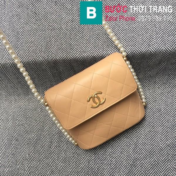 Túi đeo chéo Chanel siêu cấp da cừu màu nude size 19cm - AS2503
