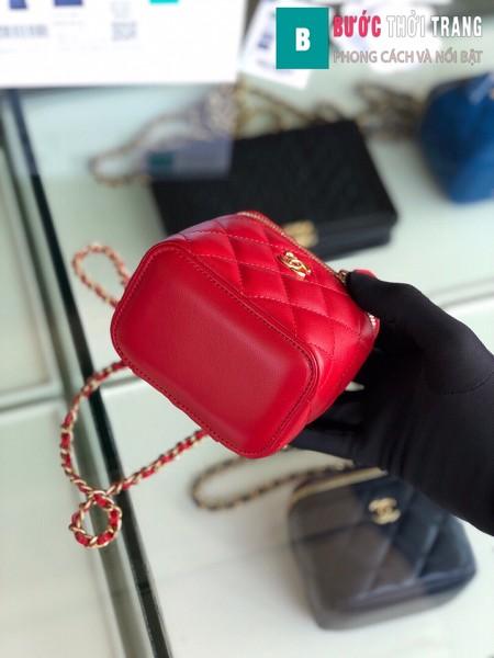 Túi xách Chanel Small vanity bag wich strap siêu cấp màu đỏ size 11 cm - AP1147y