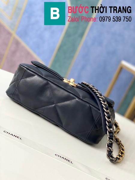 Túi xách Chanel 19 flap bag siêu cấp da bê màu xanh đen size 26 cm - 1160
