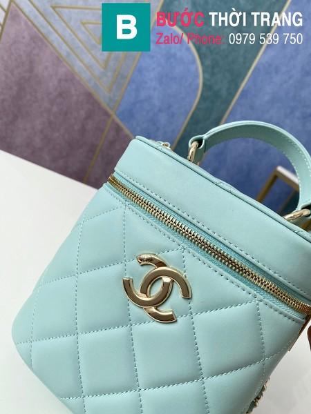 Túi xách Chanel Vantity Case siêu cấp da lambkin màu xanh size 24 cm