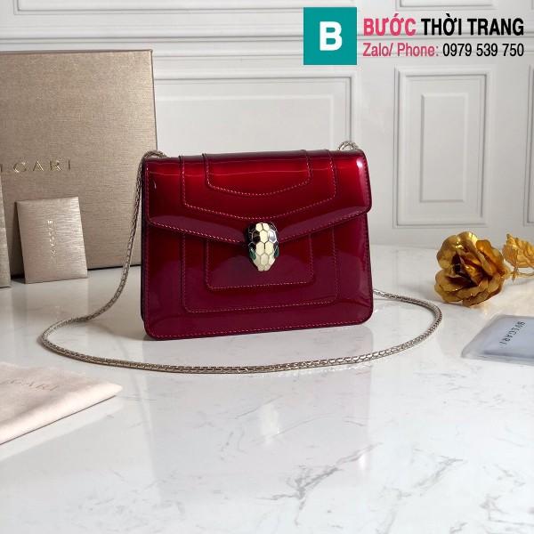 Túi xách Bvlgari Seventi forever siêu cấp da bóng màu đỏ đô size 20 cm
