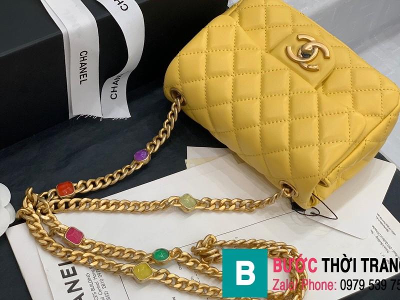 Túi đeo chéo Chanel Flap Bag siêu cấp da cừu màu vàng size 18cm AS2379