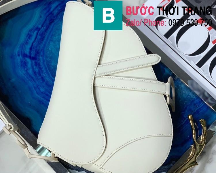 Túi xách Dior Saddle Bag siêu cấp chất liệu da bê màu trắng size 25.5cm