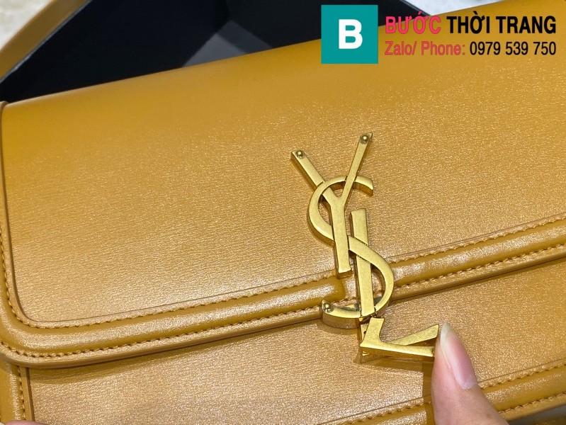Túi xách YSL Solferino box Sant Laurent siêu cấp da bê màu vàng size 23cm - 634305