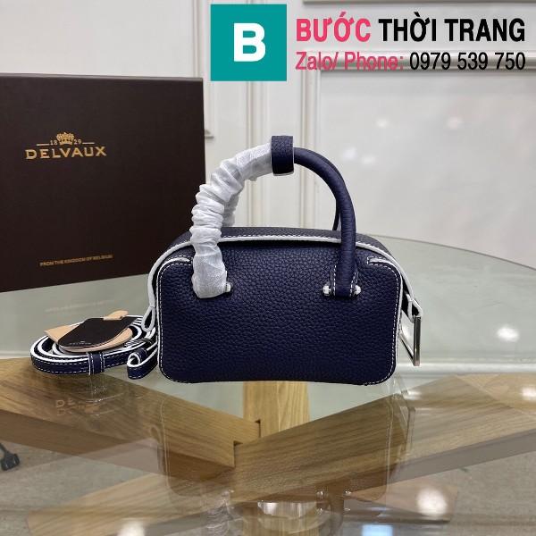 Túi xách Delvaux Coolbox nano siêu cấp da taurillon màu xanh tím than size 16.5cm
