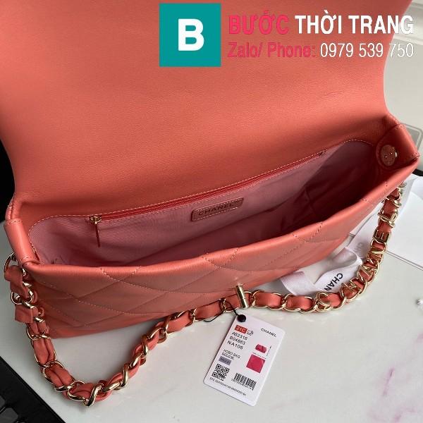 Túi xách Chanel Large Flap Bag siêu cấp da cừu màu hồng phấn size 31 cm - AS2316