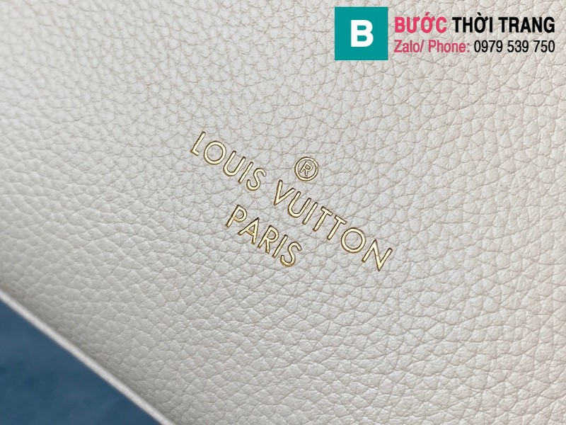 Túi xách Louis Vuitton On My Side siêu cấp da bê màu be xám size 30.5 cm - M55802