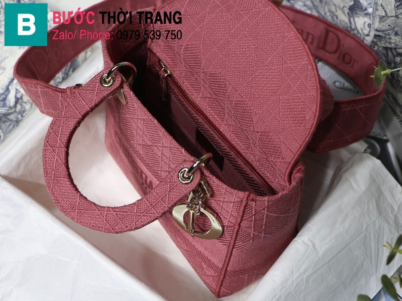 Túi xách Dior Lady D-Lite siêu cấp vải casvan màu hồng đậm size 24cm