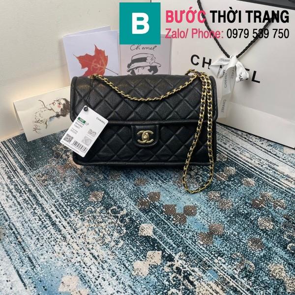 Túi đeo chéo Chanel siêu cấp da bê màu đen size 30cm - AS2358