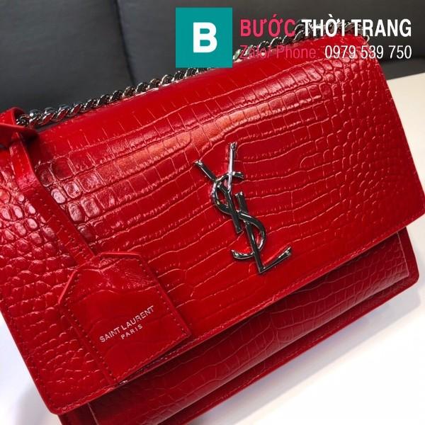 Túi đeo chéo YSL Saint Laurent bag siêu cấp da bò dập vân cá sấu màu đỏ size 22cm - 442906